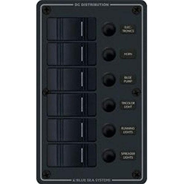 Blue Sea Water-Resistant Contura Circuit Breaker Panel, Model 8373