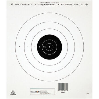 Champion Target 50 Foot Timed & Rapid Fire Official NRA Targets, Tagboard, 12-Pk