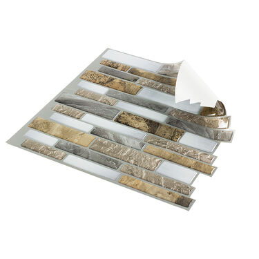 "Peel-and-Stick Mosaic Wall Tile, 10"" x 10"", Mountain Terrain"