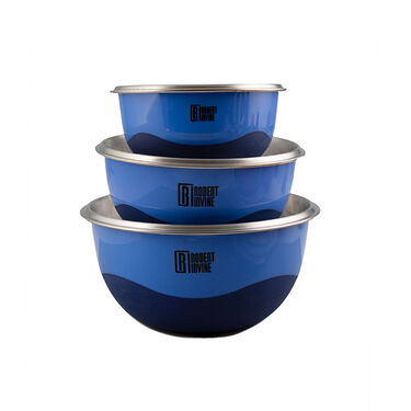 Robert Irvine 6-Piece Microwave-Safe Mixing Bowl and Lid Set, Blue