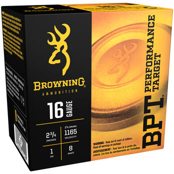 "Browning BPT Performance Target Shotshell Loads, 16-ga., 2-3/4"", 3/4-oz., #8"