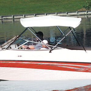 """Shademate Bimini Top White Vinyl Fabric and Boot Only, 4-Bow 8'L, 42""""H, 61""""-66""""W"""