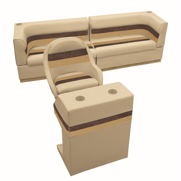 Deluxe Pontoon Furniture w/Toe Kick Base - Rear Traditional Package, Sand/Ch/Gld