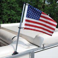 Pontoon Flag Pole Socket with 30'' Pole and U.S. Flag