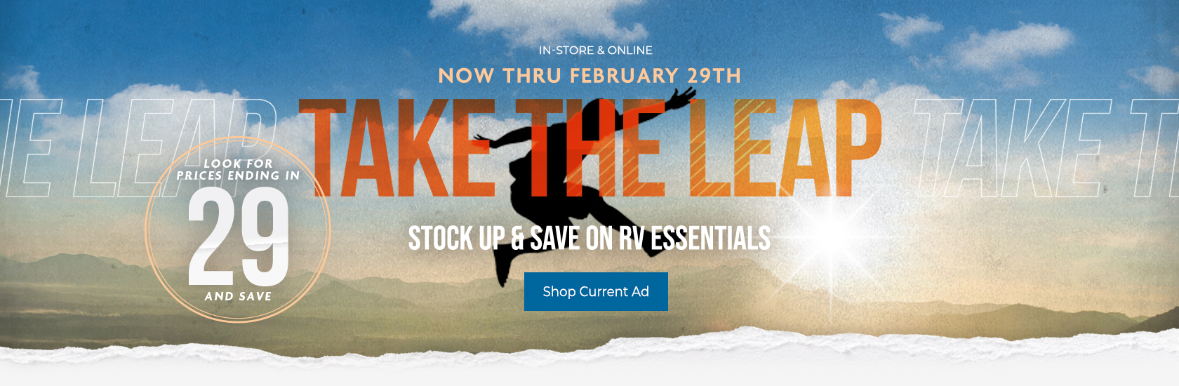 Take the leap - Stock up & save on RV essentials