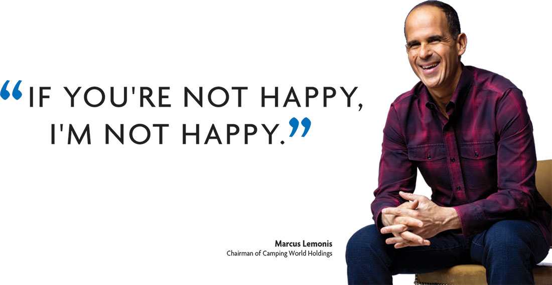 If you're not happy, I'm not happy. Marcus Lemonis Chairman of Camping World Holdings