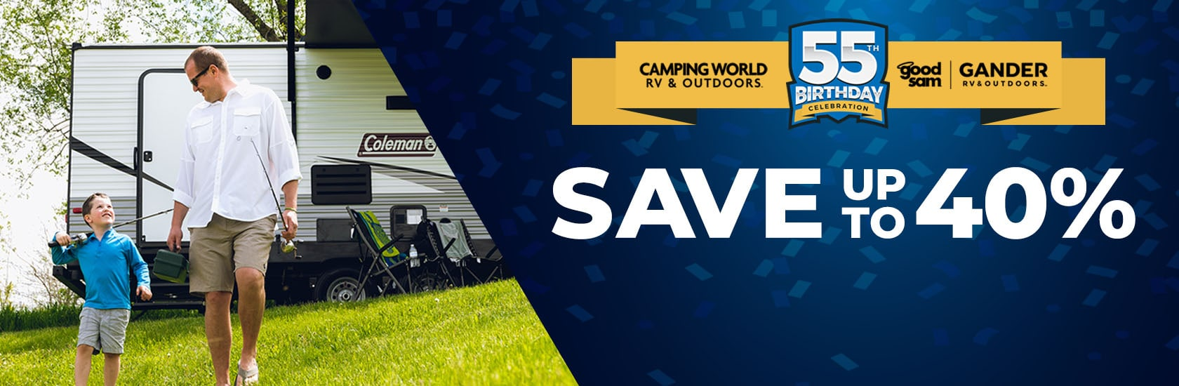 55th Birthday - Save up to 40% on outdoor gear & RV essentials