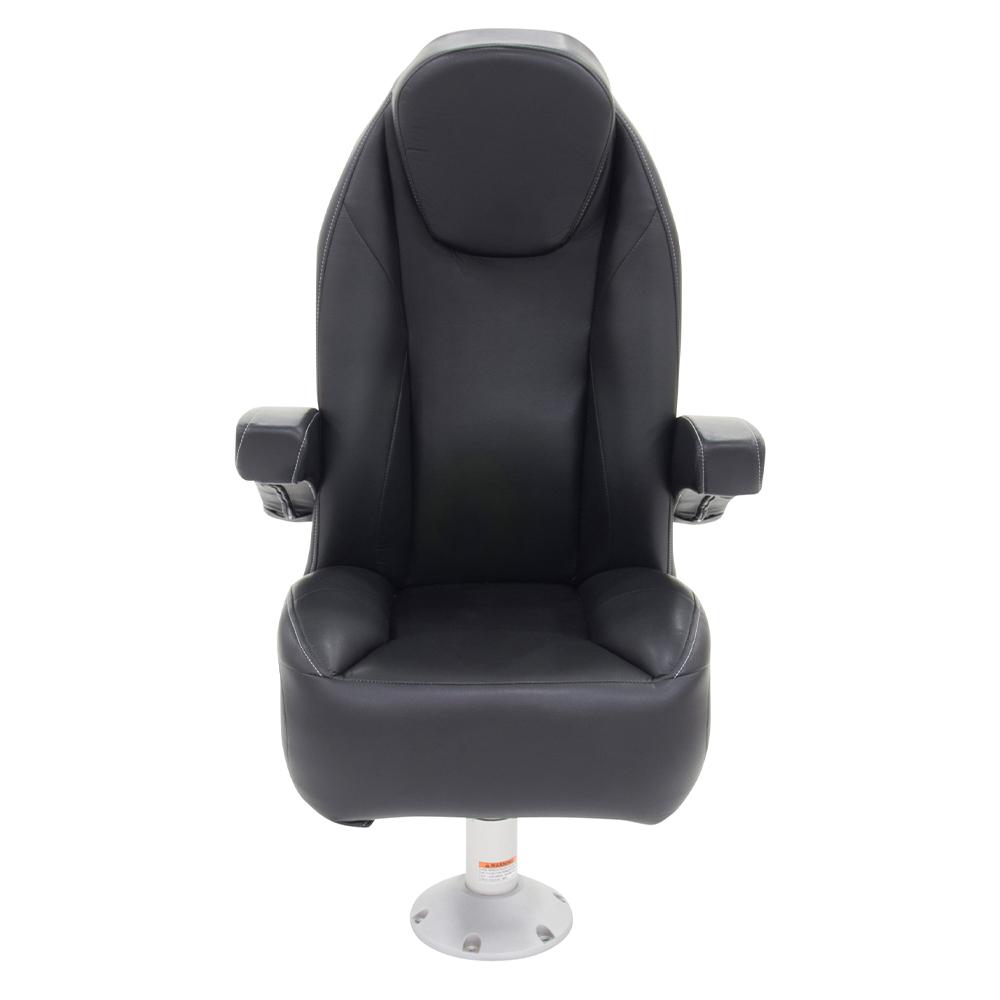 High Back Recliner Premium Pontoon Helm Seat - Onyx Black