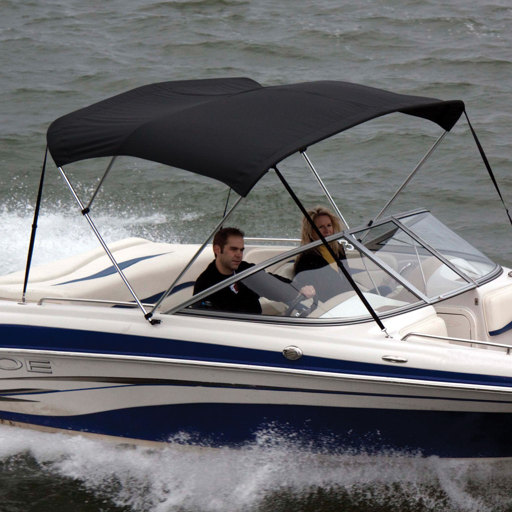 Shademate Polyester Stainless 3-Bow Bimini Top 5'L x 32''H 79''-84'' Wide