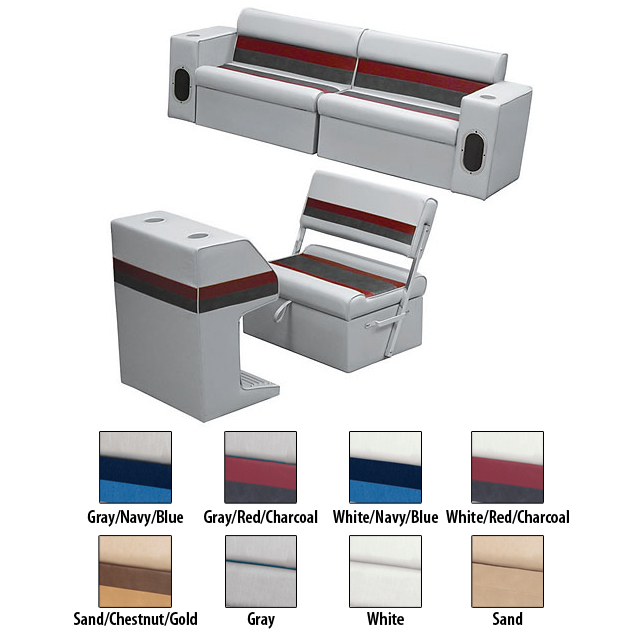 Deluxe Pontoon Furniture w/Classic Base - Rear Group Package M, White