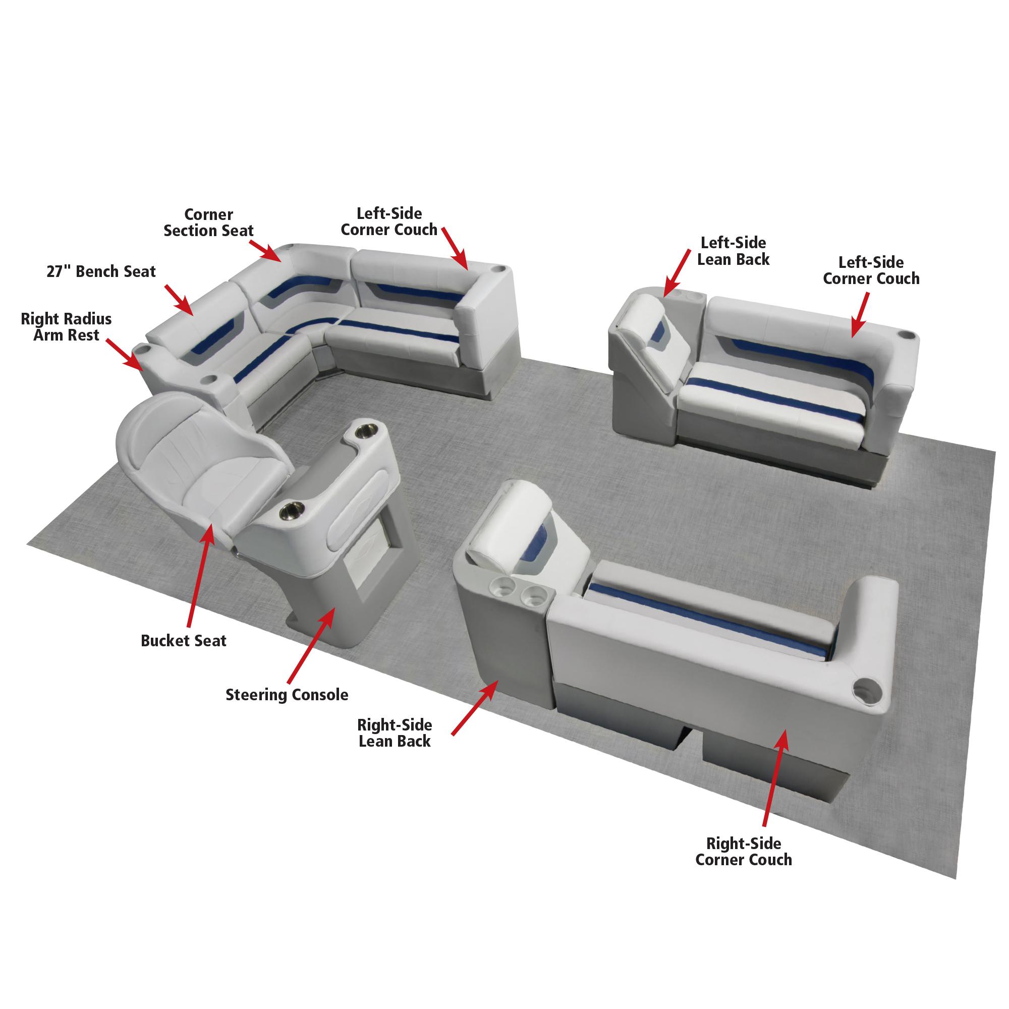 Toonmate Designer Pontoon Left-Side Corner Couch, Sky Gray