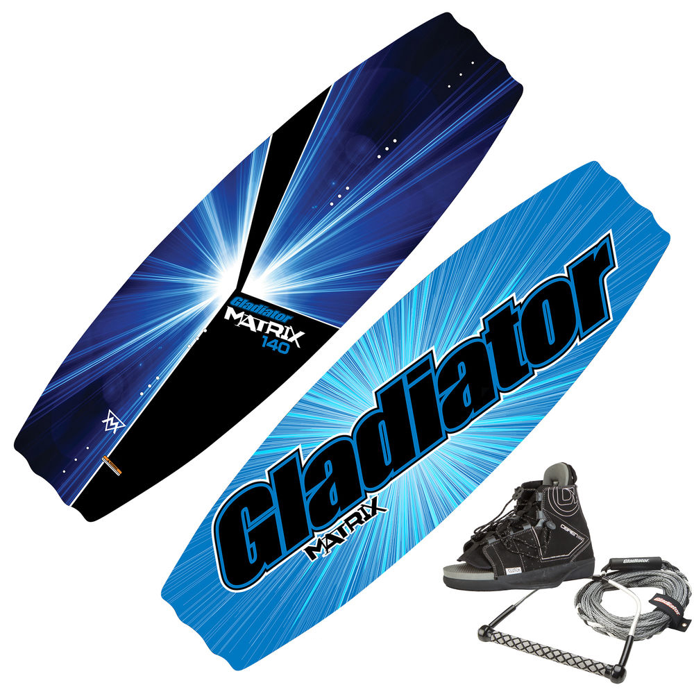 Gladiator Matrix Wakeboard Package With Clutch Bindings And Rope