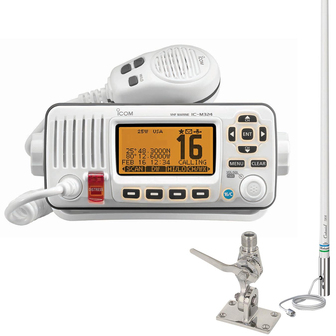 ICOM M324 VHF Marine Radio Package White, w/5101 Classic 8' Antenna and SS Mount