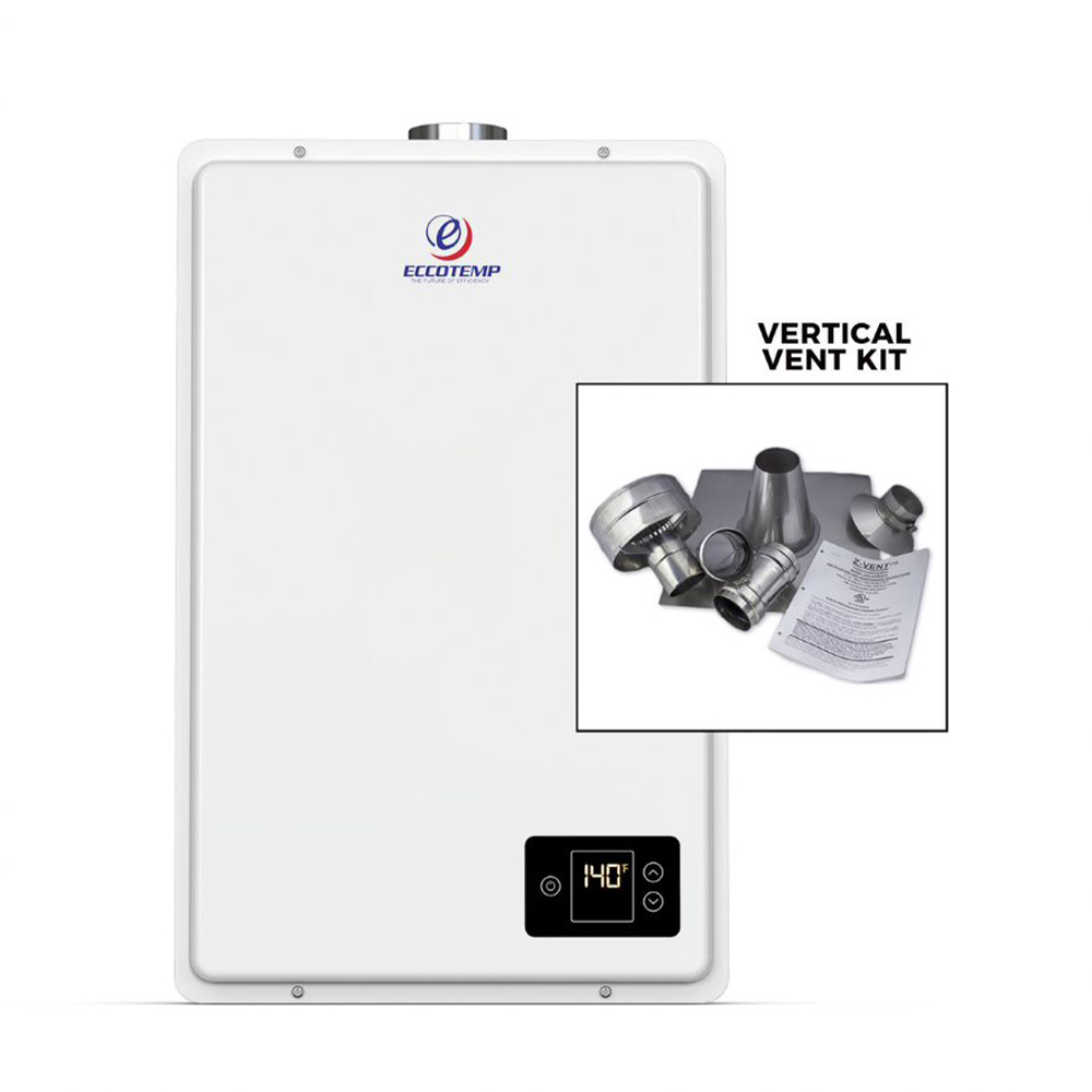 Eccotemp 20Hi Indoor Natural Gas Tankless Water Heater with Vertical Vent Kit