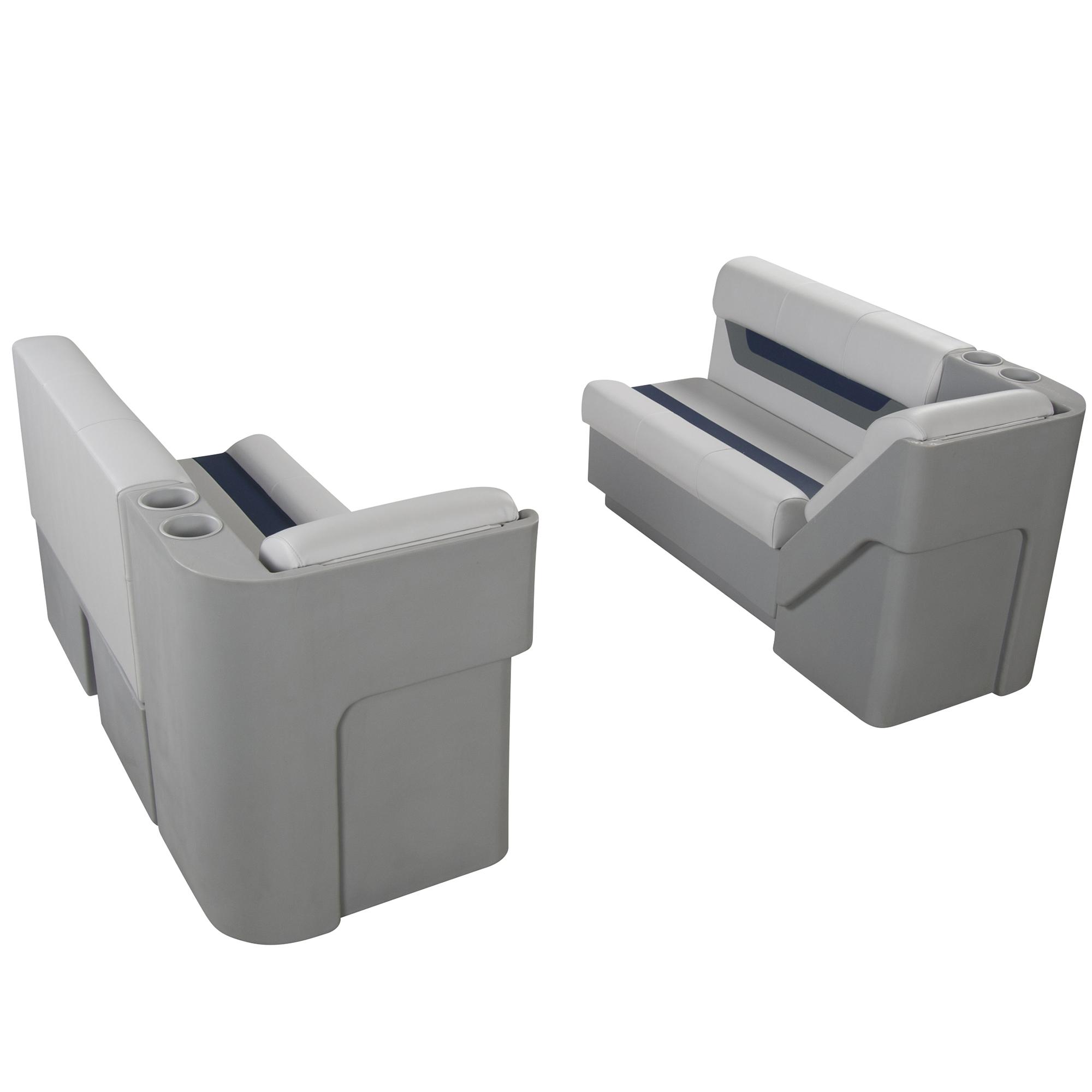 """Designer Pontoon Furniture - 54"""" Front Lounge Package, Sky Gray/Navy"""