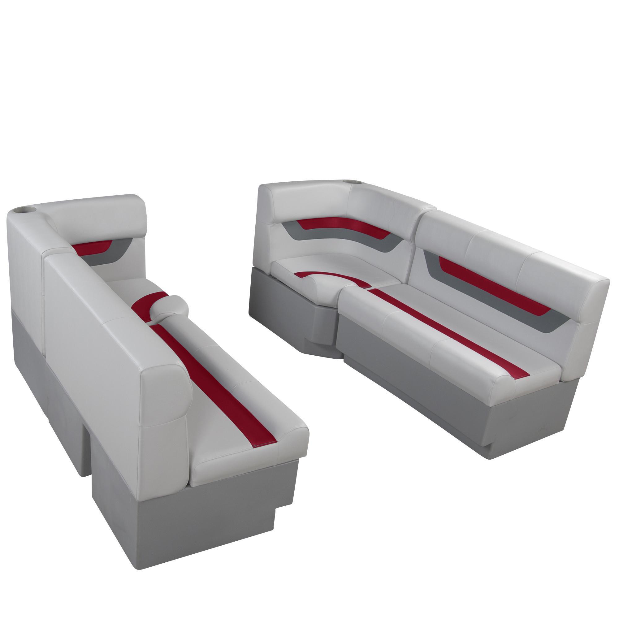 "Designer Pontoon Furniture - 61"" Front Seat Package, Sky Gray/Dark Red"