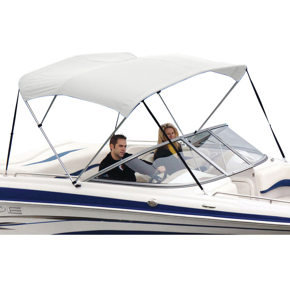 "Shademate White Vinyl 3-Bow Bimini Top, 6'L x 46""H, 85""-90"" Wide"