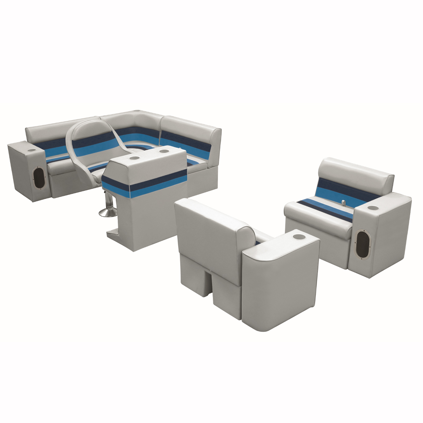 Deluxe Pontoon Furniture w/Classic Base - Complete Boat Package H, Gray/Navy/Blu