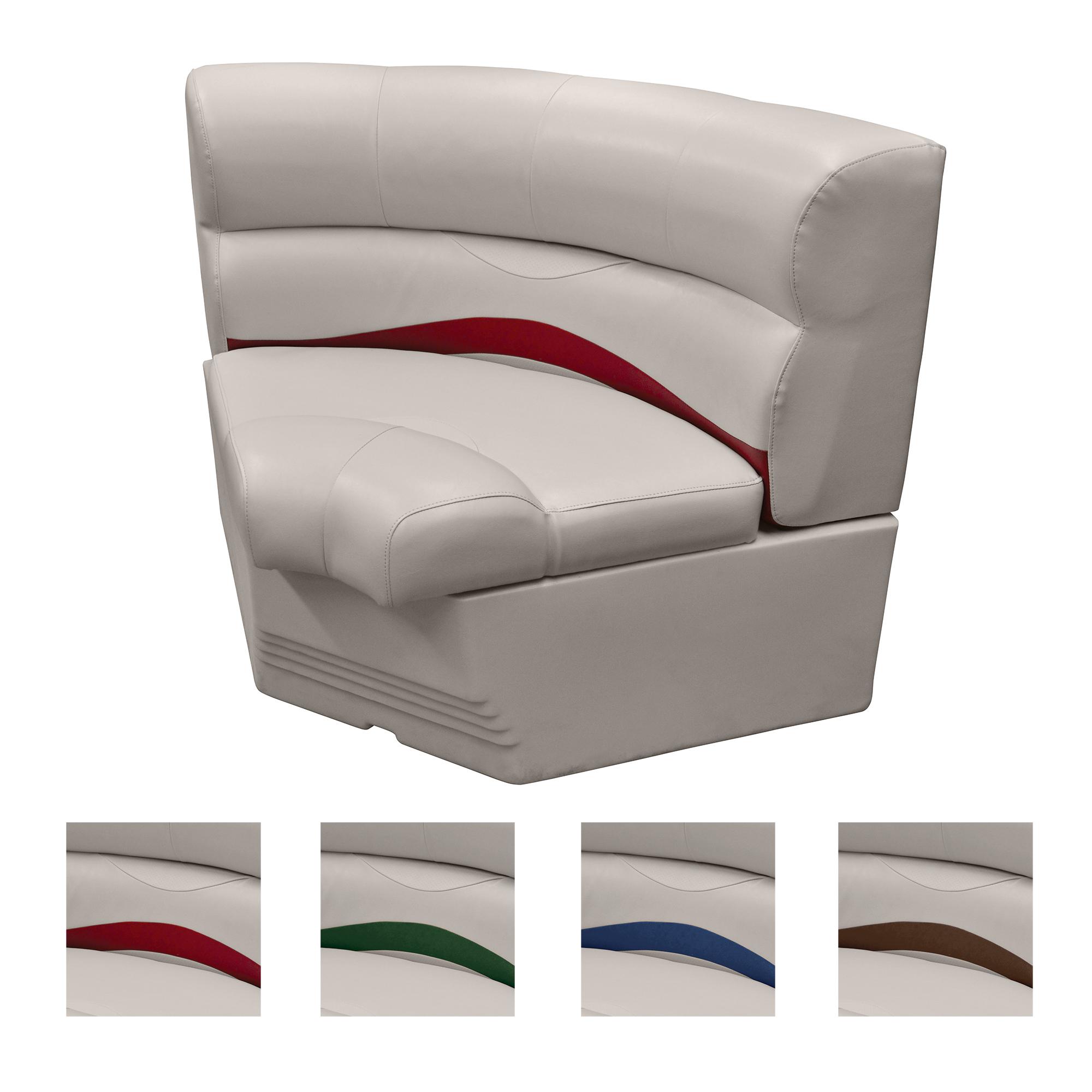 """Toonmate 32"""" Premium Pontoon Corner Section Seat w/Bow Radius Corner, Platinum"""