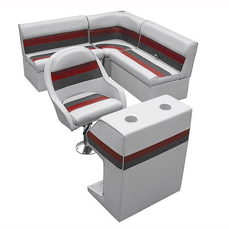 Deluxe Pontoon Furniture w/Classic Base - Rear Group Package D, Gray/Red/Charcoa