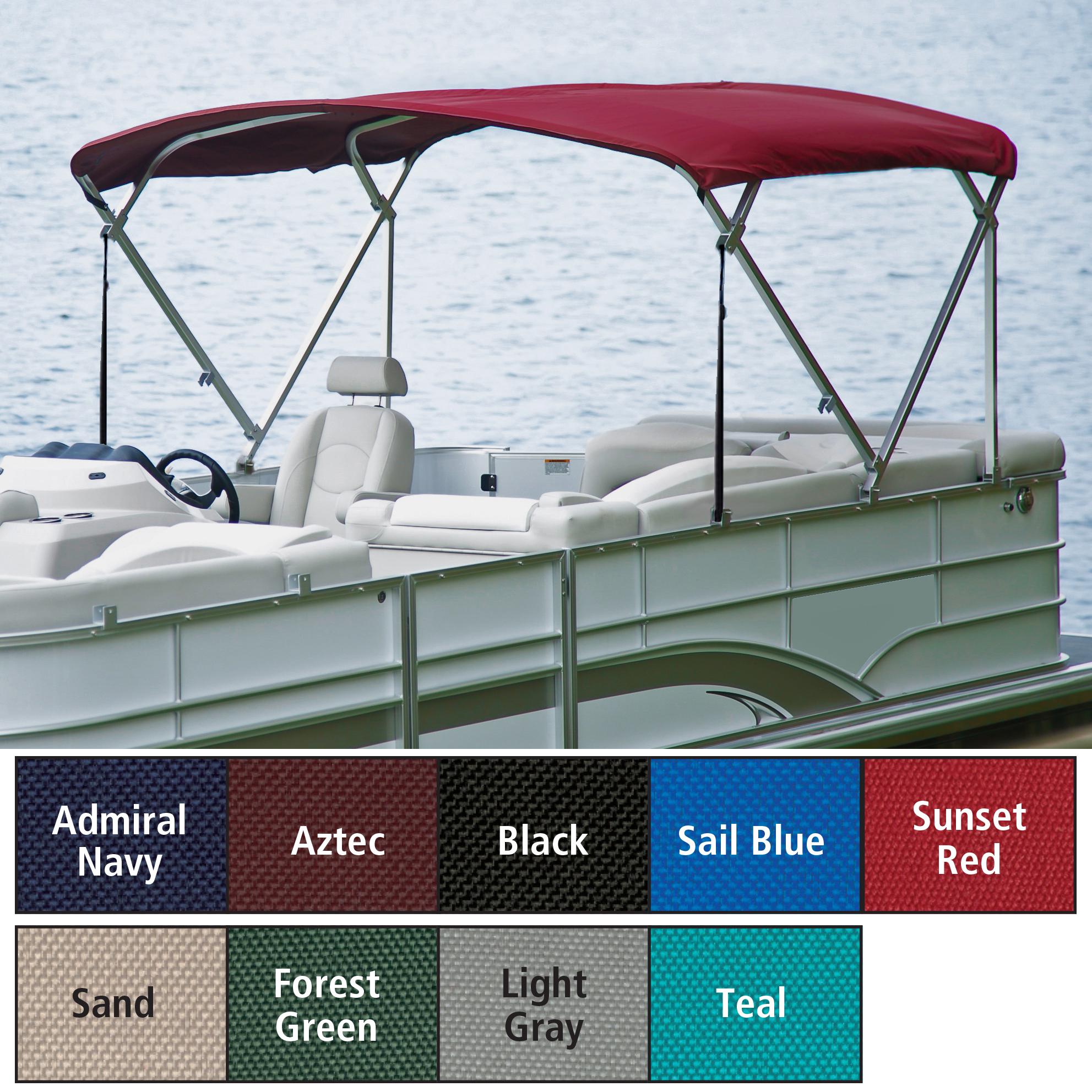 "Traditional Pontoon Bimini Top, SurLast Polyester, 1"" Standard Frame, 90""-96""W"