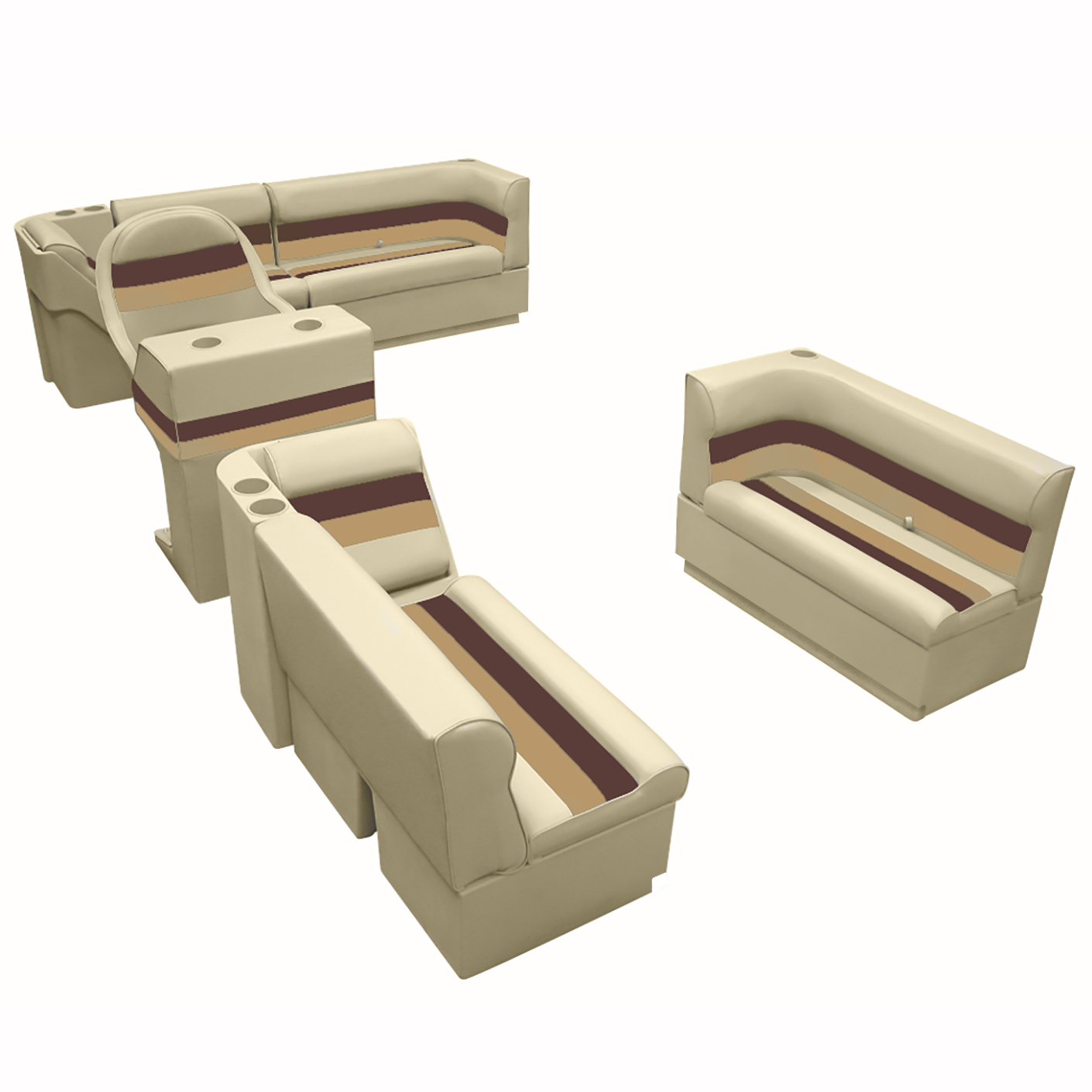 Deluxe Pontoon Furniture w/Toe Kick Base, Complete Boat Package A, Sand/Chestnut