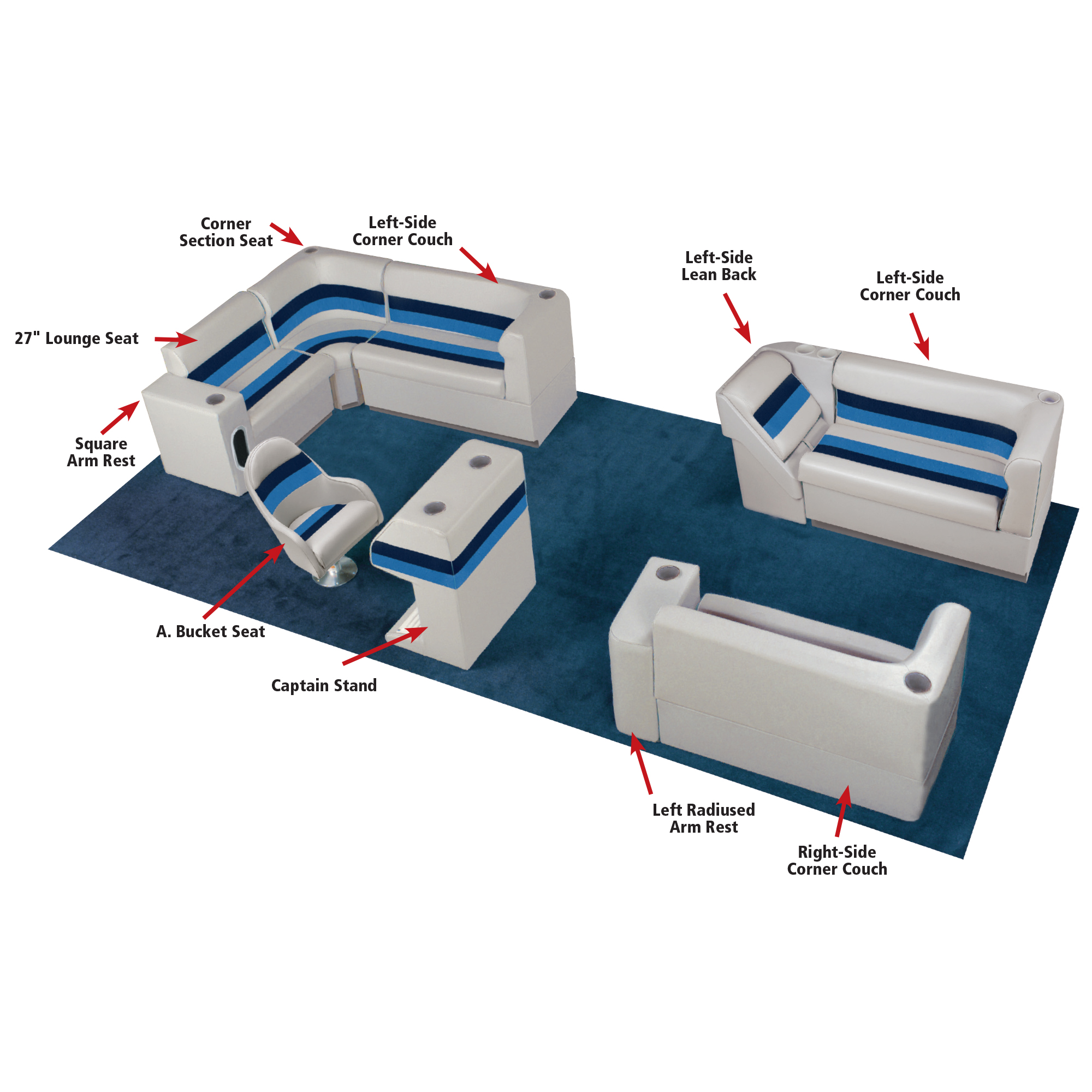 """Toonmate Deluxe Pontoon 55"""" Wide Lounge Seat with Toe Kick Base, Gray"""