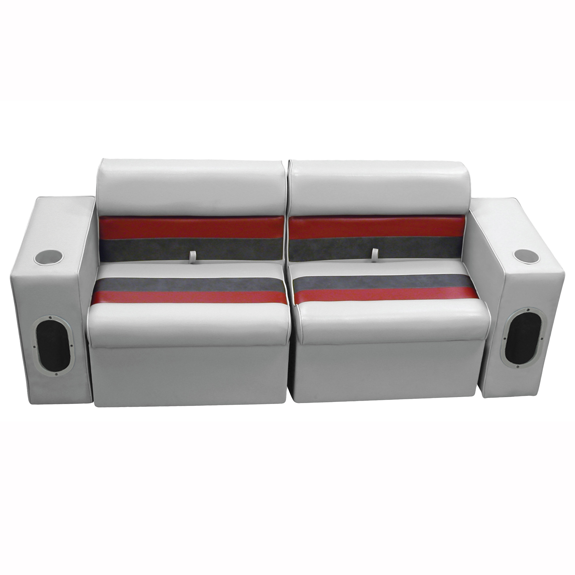 Deluxe Pontoon Furniture w/Classic Base - Front Group Package E, Gray/Red/Charco