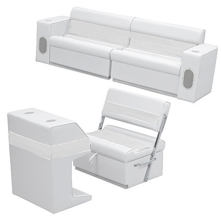 Deluxe Pontoon Furniture w/Toe Kick Base - Rear Group 7 Package, White