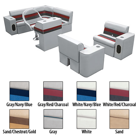 Deluxe Pontoon Furniture w/Classic Base - Complete Boat Package H, Gray