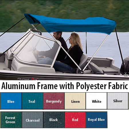 """Shademate Polyester 2-Bow Bimini Top, 5'6""""L x 42""""H, 47""""-53"""" Wide"""