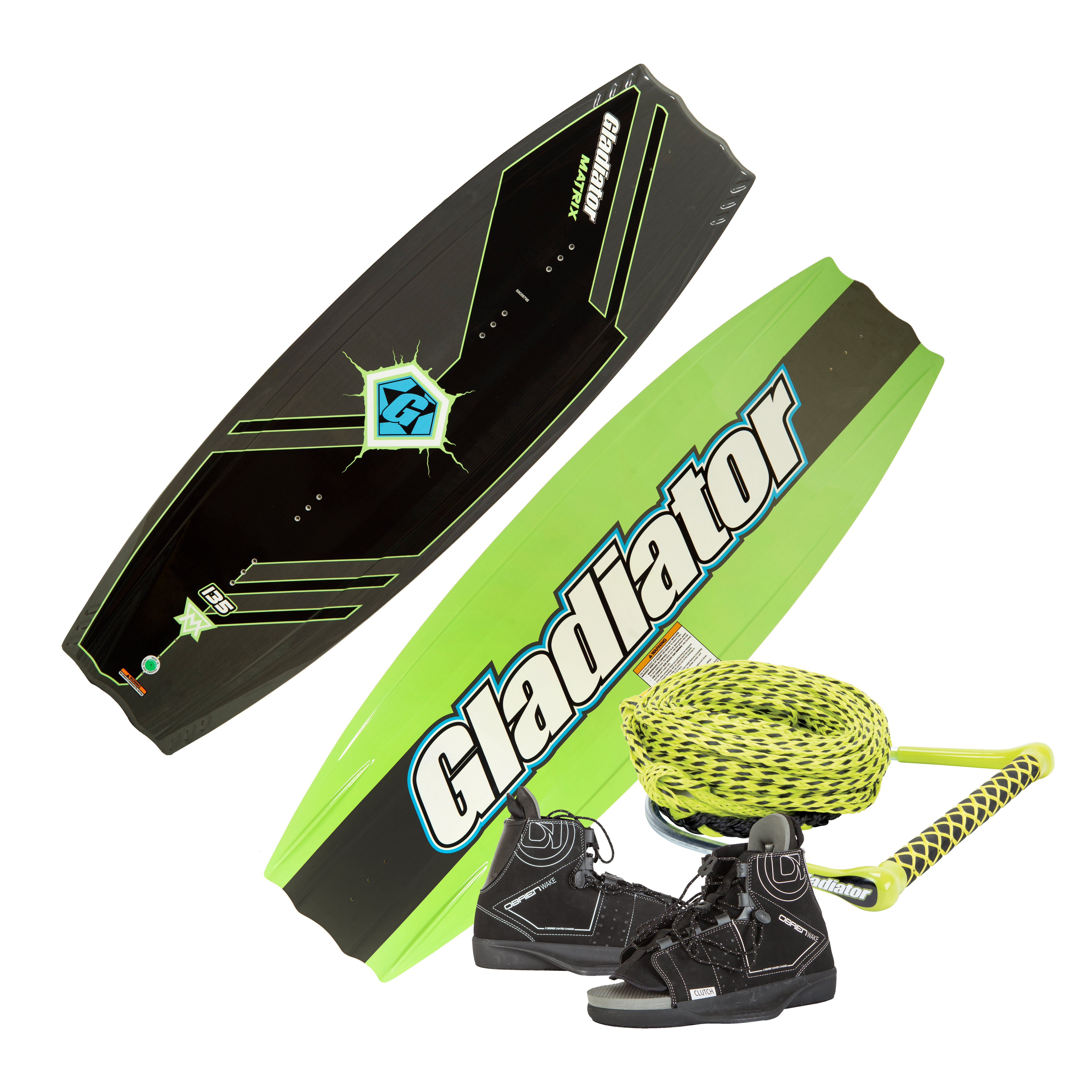 Gladiator Matrix 135 Wakeboard With Clutch Bindings And Rope