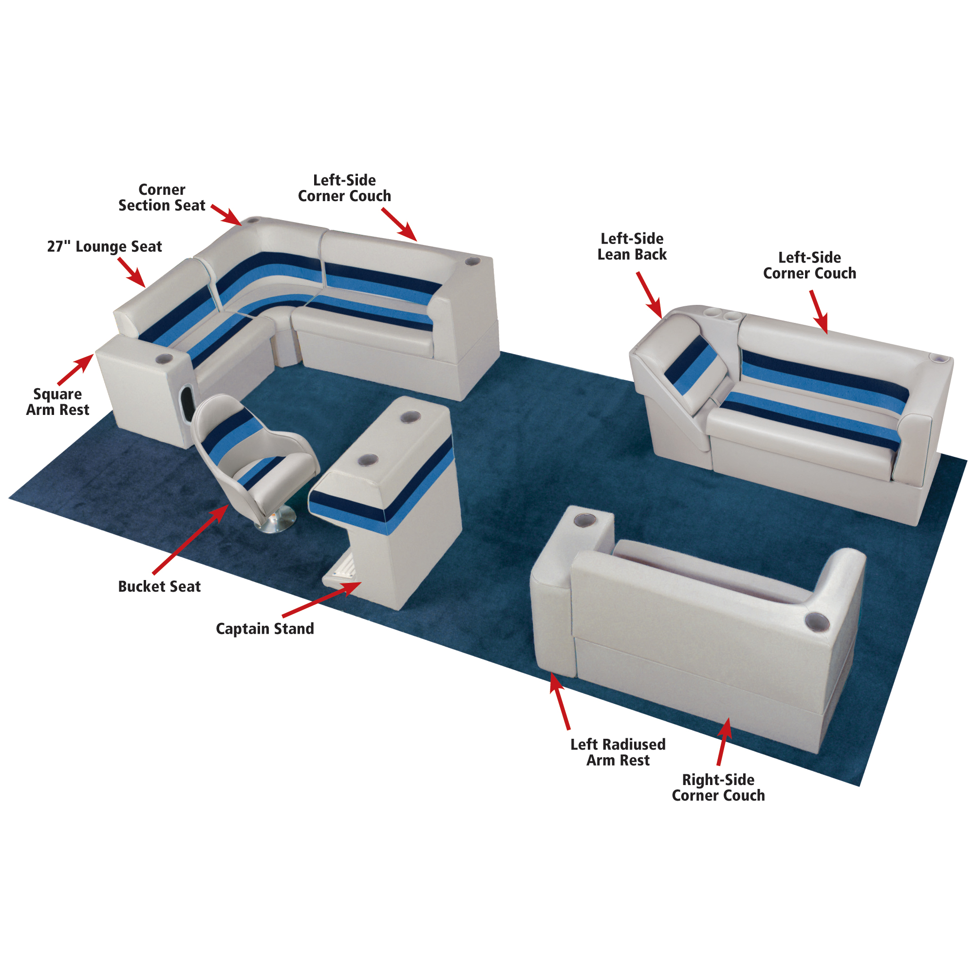 """Toonmate Deluxe Pontoon 27"""" Wide Lounge Seat w/Classic Base (no toe kick)"""