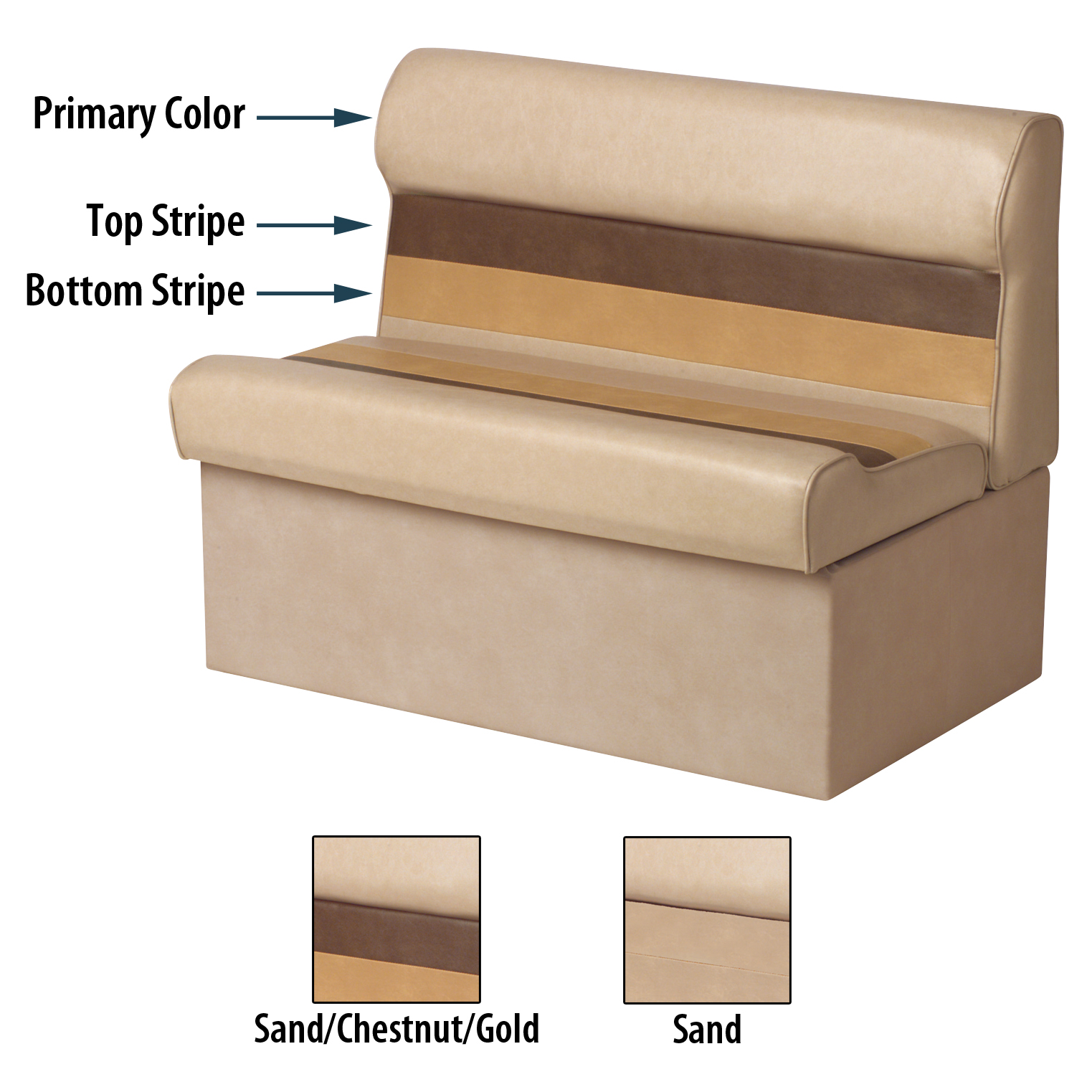 """Toonmate Deluxe Pontoon 27"""" Wide Lounge Seat w/Classic Base (no toe kick), Sand"""
