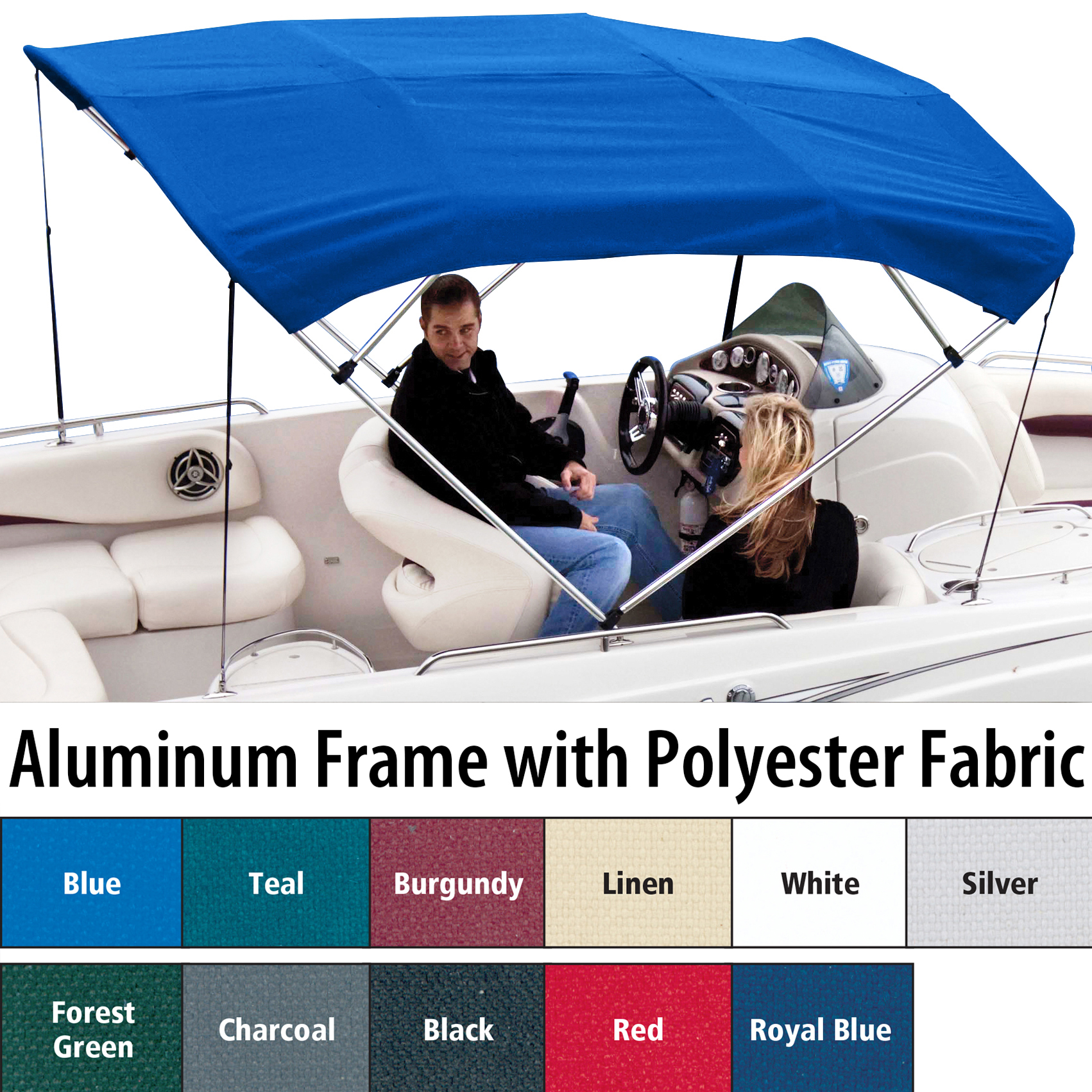 """Shademate Polyester 4-Bow Bimini Top, 8'L x 54""""H, 91""""-96"""" Wide"""