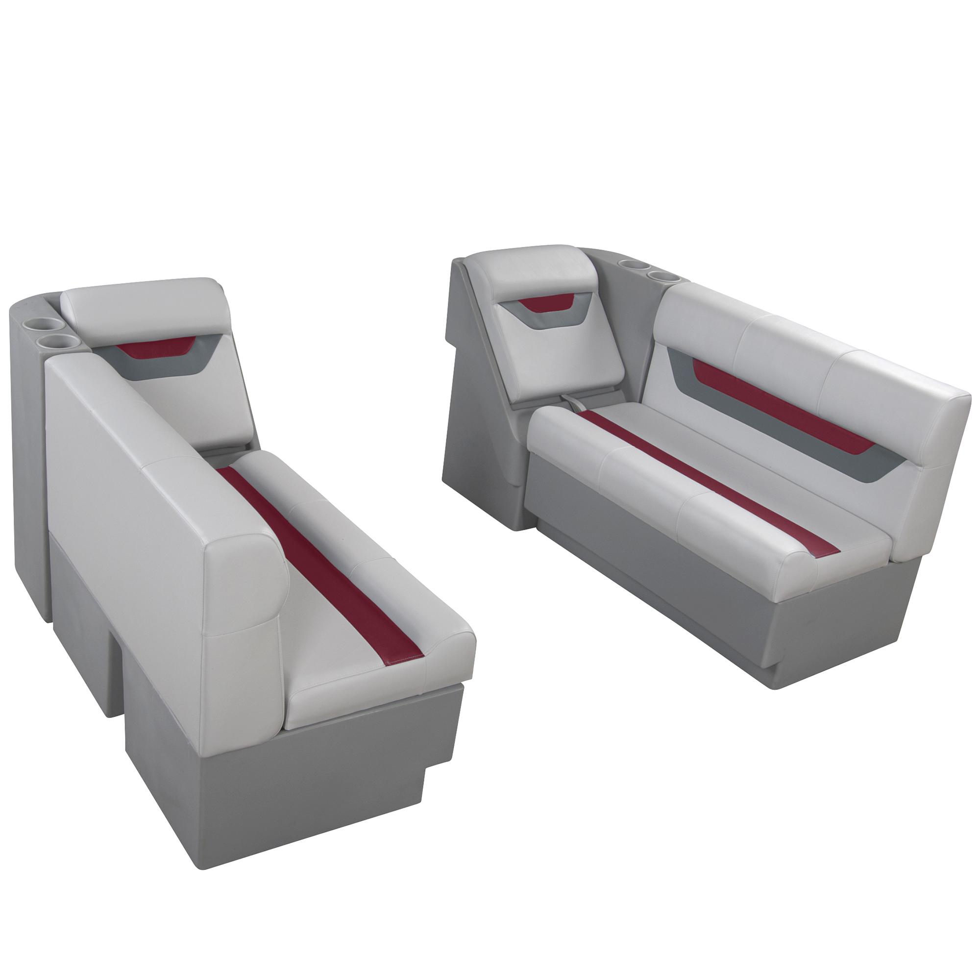 "Designer Pontoon Furniture - 54"" Front Lounge Package, Sky Gray/Dark Red"