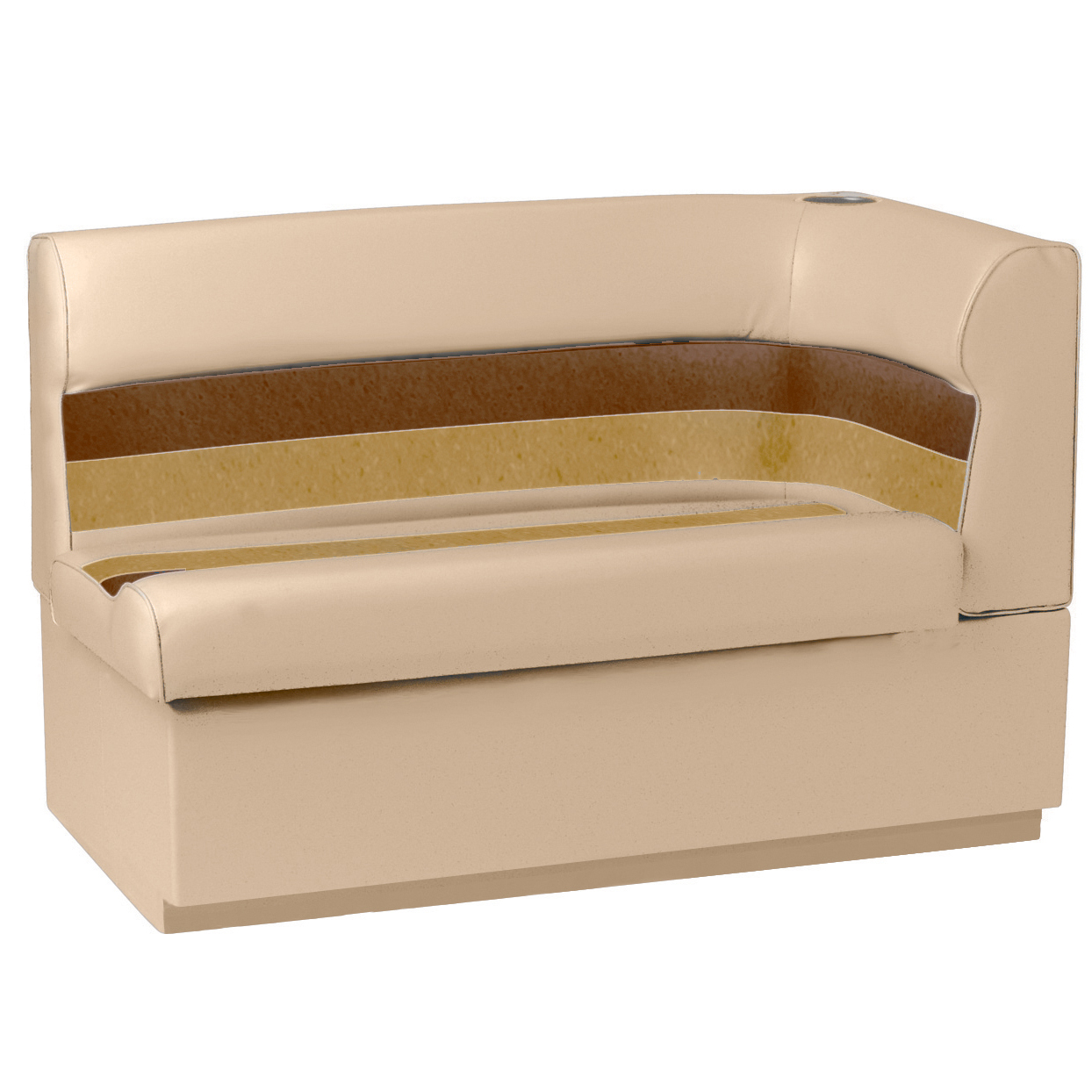 Toonmate Deluxe Pontoon Corner Couch with Toe Kick Base, Left Side, Sand