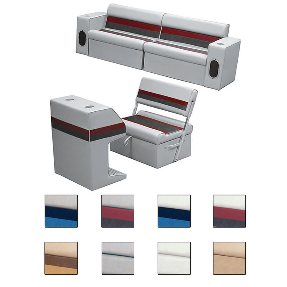 Deluxe Pontoon Furniture w/Classic Base - Rear Group Package M, White/Red/Charco