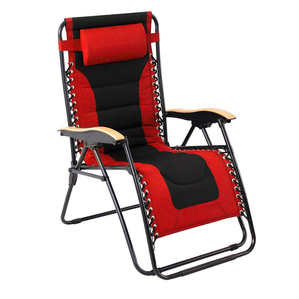 Padded Zero Gravity Chair XL with Wooden Pattern Armrest, Red