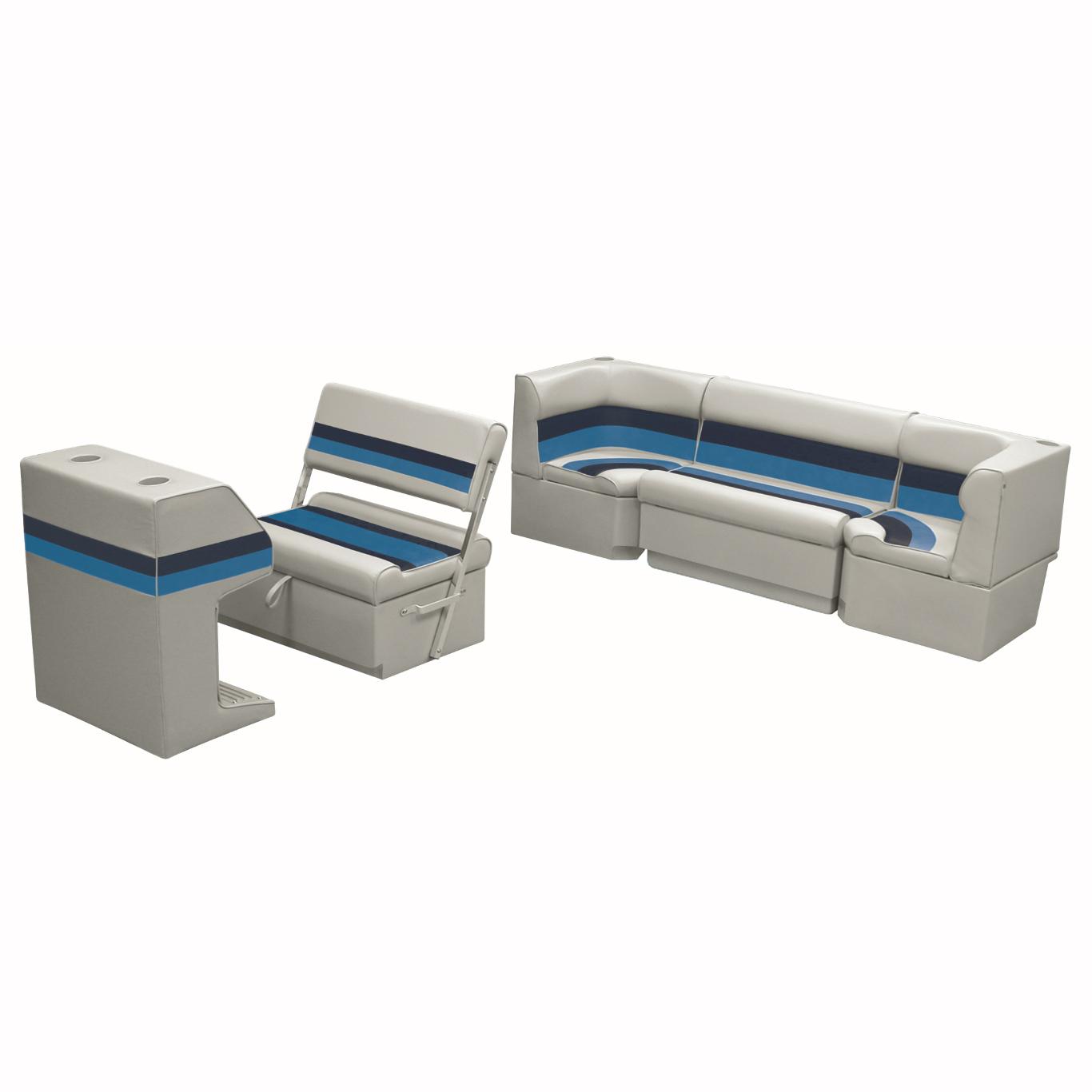 Deluxe Pontoon Furniture w/Toe Kick Base - Rear Cozy Package, Gray/Navy/Blue