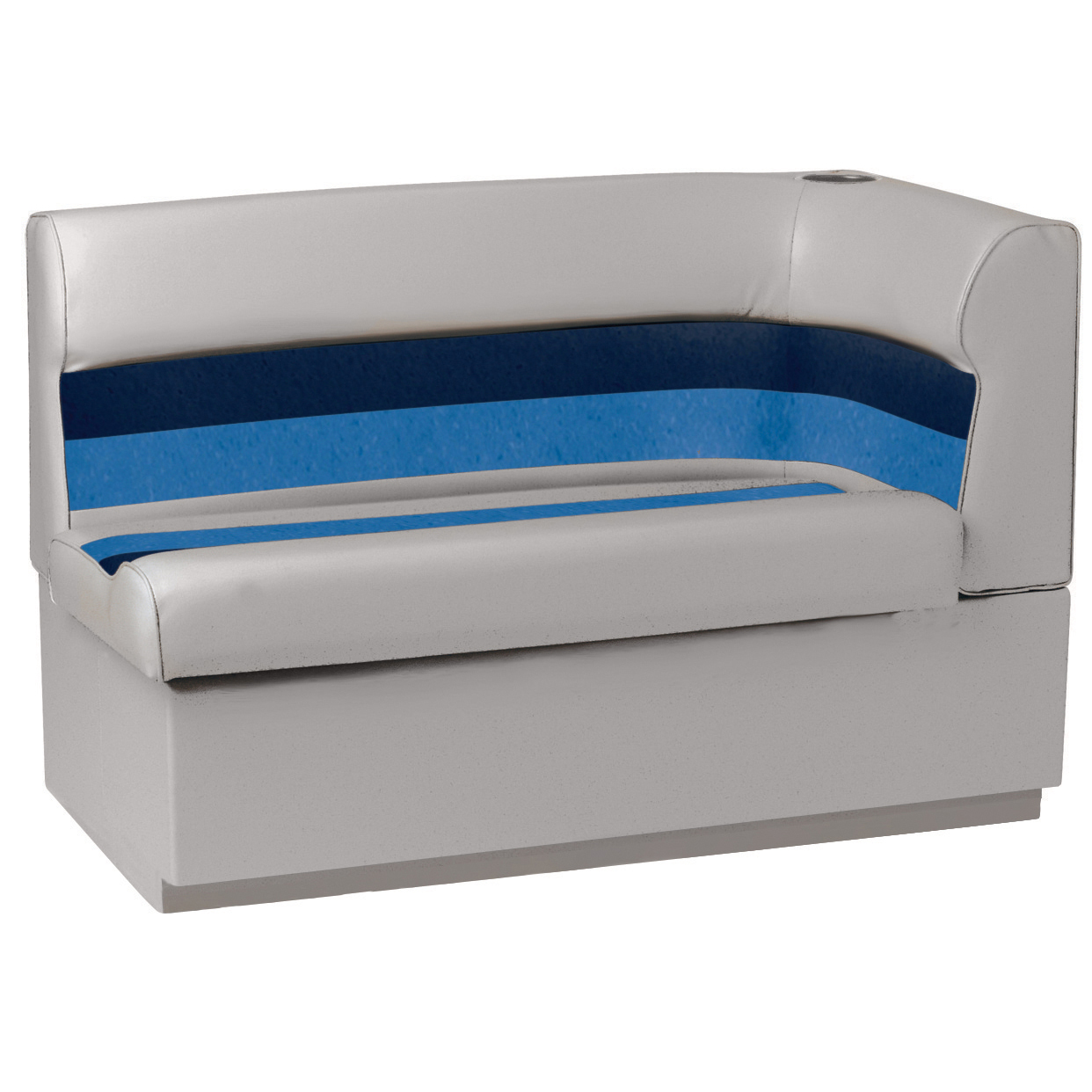 Toonmate Deluxe Pontoon Corner Couch with Toe Kick Base, Left Side, Gray