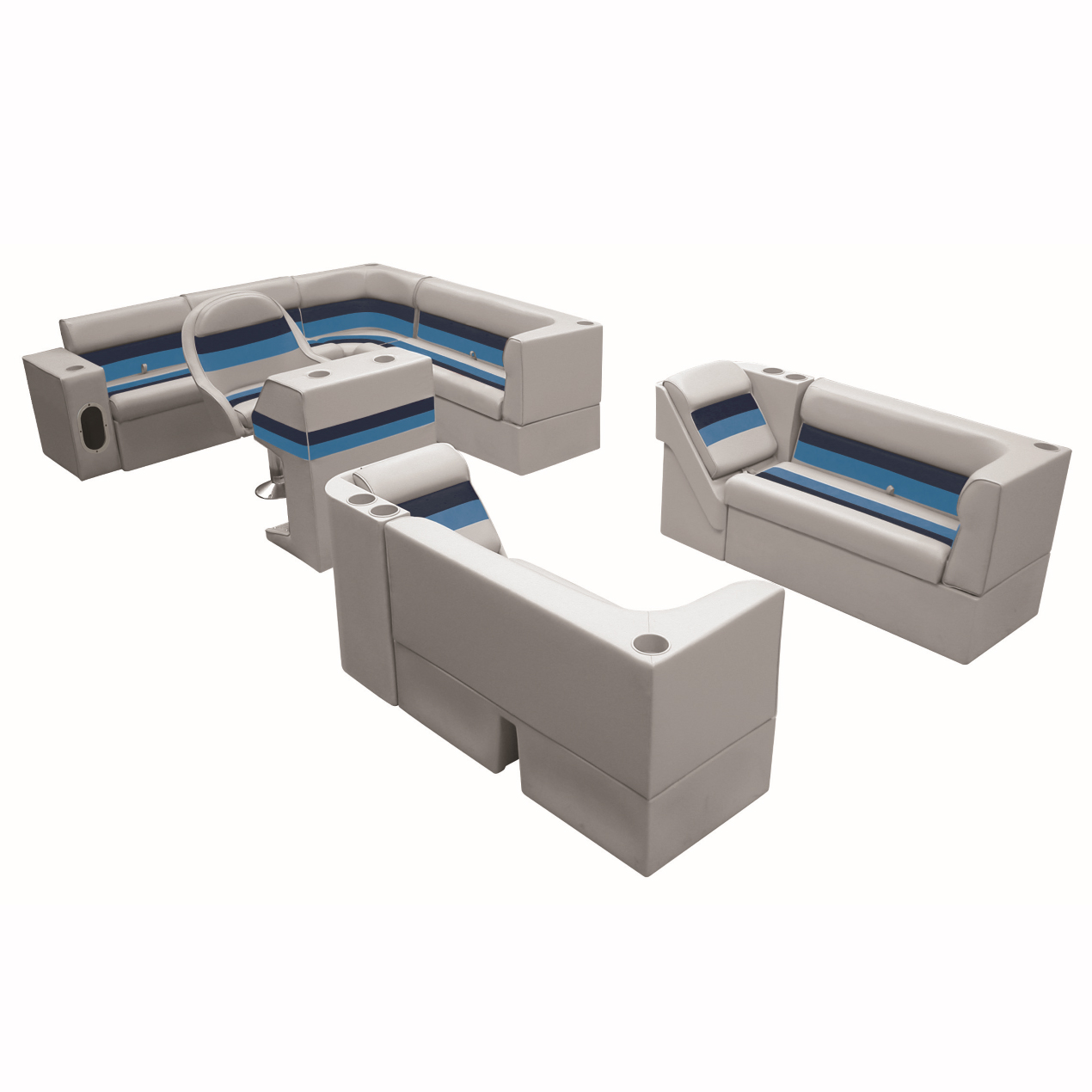 """Toonmate Deluxe Pontoon Furniture w/Classic Base - Complete Boat Big """"L"""" Package"""