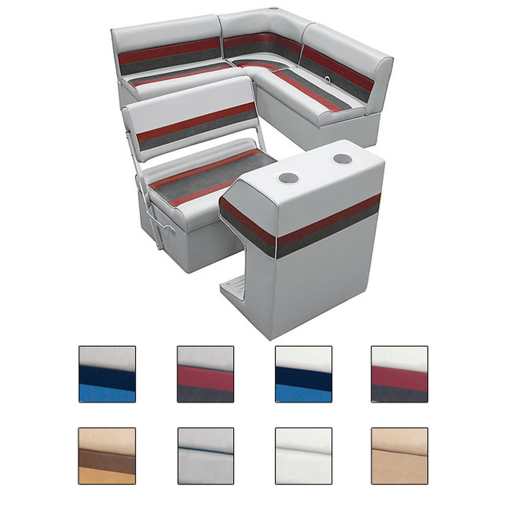 Deluxe Pontoon Furniture w/Classic Base - Rear Group Package E, White