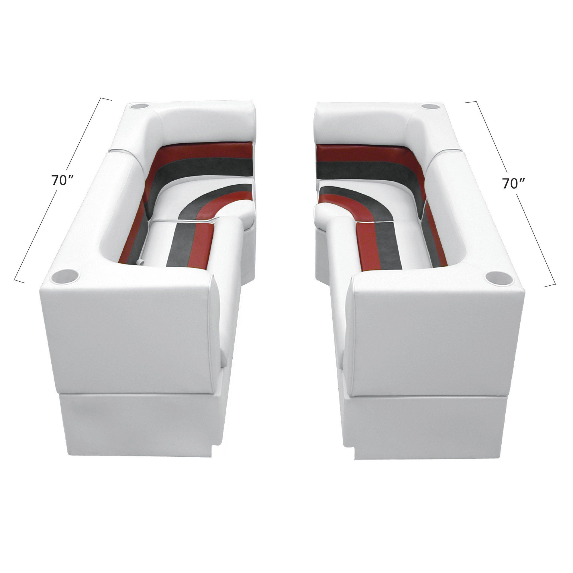Deluxe Pontoon Furniture w/Toe Kick Base - Party Pit Package, White/Red/Charcoal