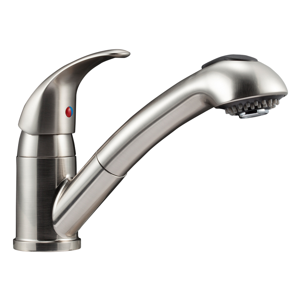 Dura Faucet Designer Pull-Out RV Kitchen Faucet, Brushed Satin Nickel