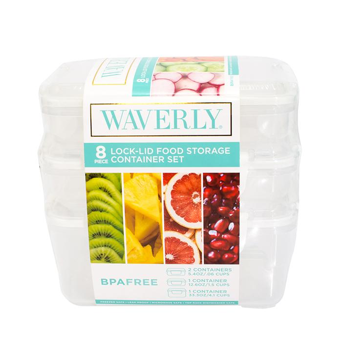 Waverly 8-Piece Lock-Lid Food Storage Container Set