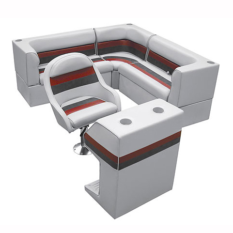 Deluxe Pontoon Furniture w/Classic Base - Rear Group Package C, Gray/Red/Charcoa