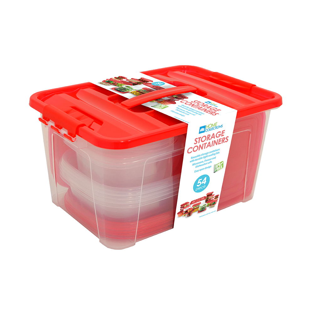 Home Collections 54-Piece Food Storage Container Set, Red