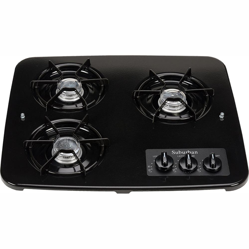 3 Burner Drop-In Cooktop, Black top photo