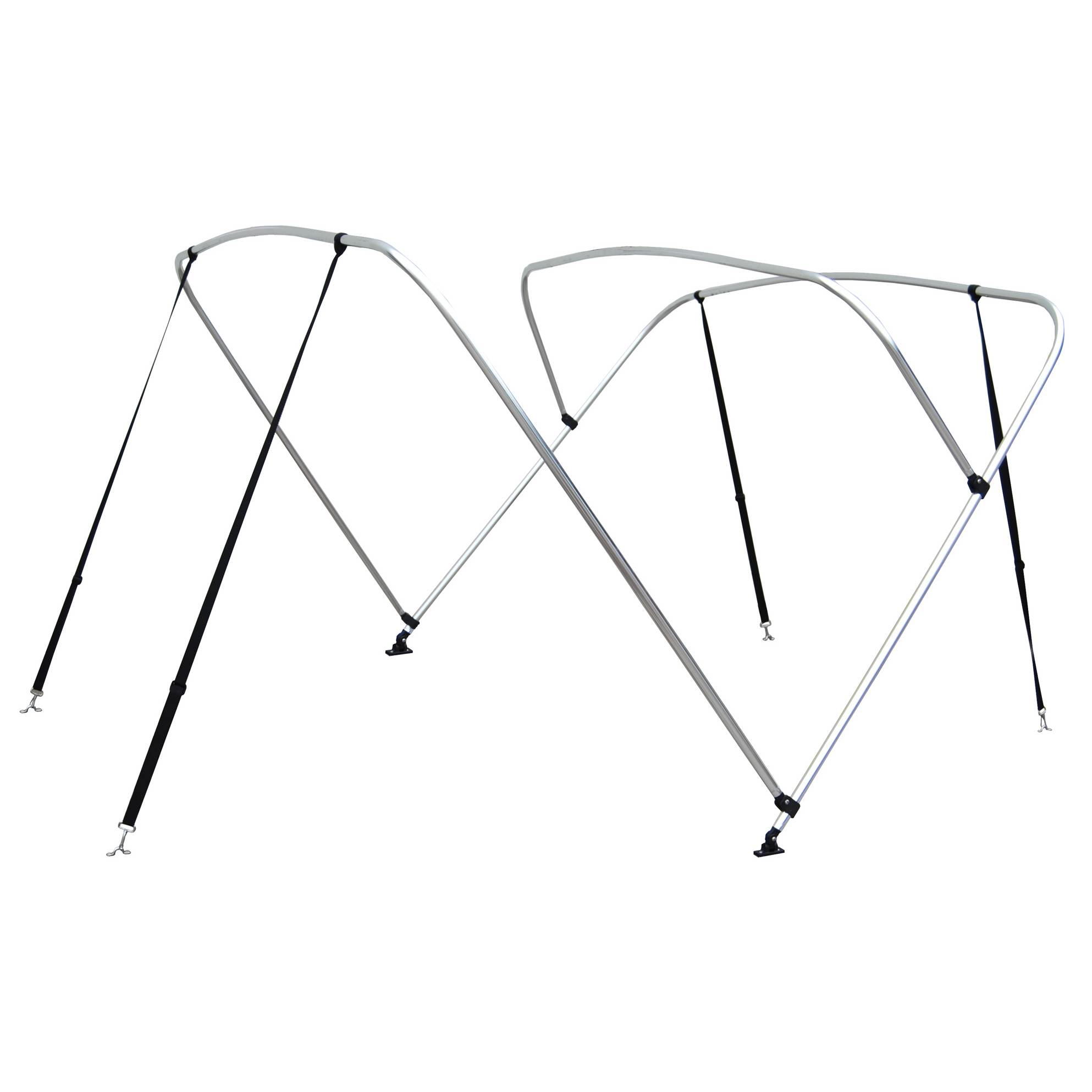 Shademate White Vinyl Stainless 4-Bow Bimini Top 8'L x 54''H 67''-72'' Wide